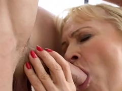 Old granny cum splashed