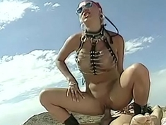 Risqu' floosie Nena Cherry in leather gear rails a young ray dick in cede