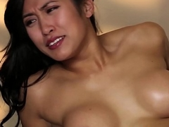 Shaven asian babe tricked by the brush masseur