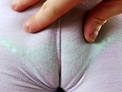Conceitedly Abscess Ringing Micro Thong added to Tight Cameltoe Leggings