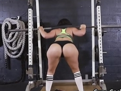 PAWG blows fat flannel at one's fingertips gym during workout