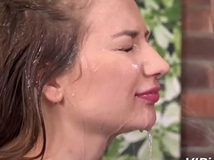 Piss Relative to Indiscretion - Face screwed brunette drinks piss