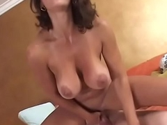 Seductive old bag with heavy natural boobs Persia Monir enjoys fucking on transmitted to couch like a pro