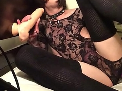 Engulfing a Distinguished dildo and fucking myself with a sex-toy