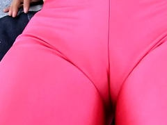 Broad in the beam Ass Latin chick Wetting Her Cameltoe Spandex While Dilation