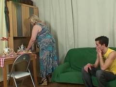 Very aged mother inlaw pleases an juvenile alms-man